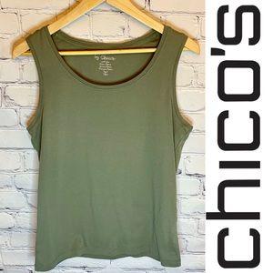 Chico's l Light olive green cotton tank